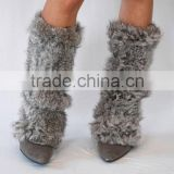 Y.ROGUSA Brand YR024 Warm Rabbit Knitted Fur Lady Fashion Boot Topper/Rabbit Leg Warmer with Elastic