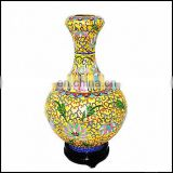 100% Good Chinese Old Cloisonne Handwork Painting Golden Flower Vase Decoration