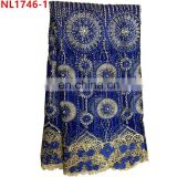 Wholesale beaded sequined lace fabric 3D Net lace fabric with rhinestone party evening lace fabric