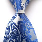 Silver Extra Long Mens Jacquard Neckties Adult Classic Strips