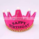 MCH-2317 New wholesale party decoration led flashing happy birthday king princess tiara crown headband hat for kids