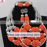 Bridal Wedding Beads Jewelry Set African Women Coral Beads Necklace Set for Party Costume Handcraft Jewelry Set