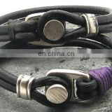 Couple bracelet unisex leather bracelet black leather