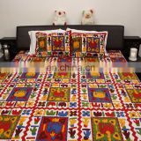 Indian vintage 100 % cotton bedsheet embroidered handmade design jaipuri bedspread Bedsheet