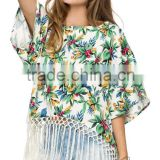 2015 New Design Loose Floral Printed Hem Tassel Batwing Sleeve Chiffon Ladies Blouse