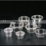 All sizes of disposable trail drinking cup,clear PET portion cup,disposable plastic sauce cup
