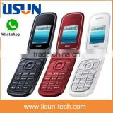 "hot selling 1.77"" quad band dual sim gsm gprs China flip mobile phone support whatsapp camera factory bulk price"