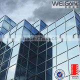 Factory made tempered blue reflective glass for glass walls