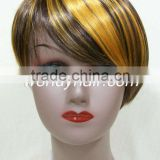 Synthetic wigs with bangs for small head