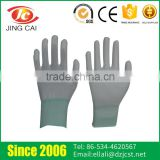 Polyester Lining White PU Coated Nylon Gloves for Electronic Industry