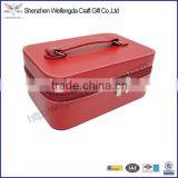Factory supply red pu leather make up case jewelry packaging box elegant with zipper