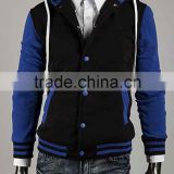 Custom latest 2015 Black and Yallow Design High Quality Cotton Fleece Varsity Jacket / College Jacket / Letterman Jacket