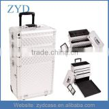 Diamond Pattern Wheeled Box Aluminum Silver Rolling Makeup Case With Drawer ZYD-HZMcbc013