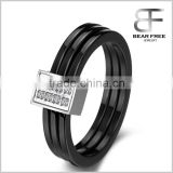 Unisex Stainless Steel Black Ceramic Triple Circle Domed Band Comfort Fit Rectangular Wedding Engagement Ring