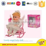 Hot sale electric lovely angel baby doll with rocking chair & phone musical toy