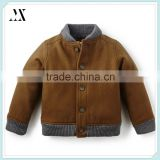 Children Clothes Quilted Interior Lining Jackets Ribbed Cuffs Boys Winter Wool Bomber Jacket