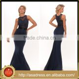 PS-14 Heavy Beaded Bodice High-Low Party Prom without Sleeve Mermaid O Neck Full Length Royal Blue Prom Dress