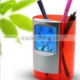 2015 new color changing table clock with LCD calendar clock pen holder