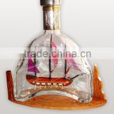 GALLEON SHIP IN MARTELL BOTTLE, UNIQUE CRAFTED DECOR OF VIETNAM, SHIP MODEL IN A WINE BOTTLE