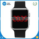 LED016 Silver Case Men's Women's Children's 38mm Black Silicone Sport Watch For Birthday Gift