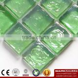 IMARK Green Iridescent Square Glass Recycle Glass Mosaic For Pool Wall Decoration