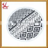 Luxury Australian Roundie Beach Towel Tassel Black & White Reactive Printed Round Beach Towel