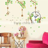 Birds tree clock wall stickers decoration decor home decal fashion cute waterproof bedroom living sofa family house SA-1-005