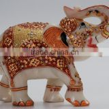 Marble Stone Elephant Handicraft Artisan Gift Rich Art And Craft Home Decor Sculpture India Animal