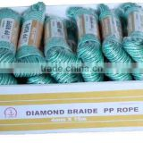 mixed colored pp diamond braided rope with competitive price