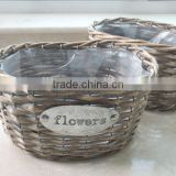 wicker willow baskets for plants decorative plant pots indoor wicker flower pots with metal wire structure