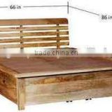 Natural Mango Wood Finish Solid Wooden Queen Size Bed With Storage