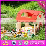 2017 Hot sale funny children wooden toy farm animals W06A156-S
