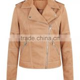 100% Polyester Collared Neck Suede Jacket Double Pockets Zipper Tan Suedette Biker Jacket For Women