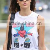 Ladies custom lightweight cotton white with large printed logo on front round neck fashion summer sleeveless tank top