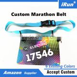 Customized Embroidery Logo Running Number Belt with Gel Holders - IronMan Triathlon Stretch Woven Logo Race Bibs Number Belt
