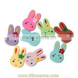 "Wood Painting Sewing Buttons Scrapbooking Rabbit Animal 2 Holes Mixed 25mm x 16mm(1"" x 5/8""),100PCs,Bulk"