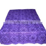 Beautiful Purple Color Heavy Embroidered Mirror Work Bedroom Decor Coverlet Bedspread Bedding Throw