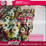 Winfar Textile Wholesale Knitting Flower Printed 32s Ring Spun Rayon Spandex Fabric Viscose