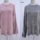 Chenille Lace up Women Sweater Knitting Winter Clothing