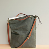 waxed canvas tote bag with leather strap