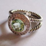 Sterling Silver Jewelry 8mm Prasiolite Petite Albion Ring(R-026)
