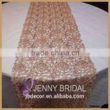 TR008A modern style champagne gold chemical lace sequin table runner