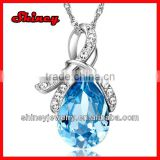 stock order !cheap bling 925 sterling silver ocean blue water drop crystal paved fashion necklace wholesale
