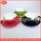wholesale promotion ceramic porcelain cup coffee and saucer double glazed colorful stoneware tea cup and saucer mug