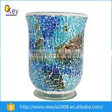 wholesale table decoration blue tall cracked mosaic led glass vase