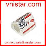 Vnistar metal alloy european style large hole red and blue enamel USA flag triangle beads TB079