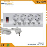 DeutsChland /German Power extension 4 Gang 4 ways socket Euro Plugs with Surge Protector 250V 16A