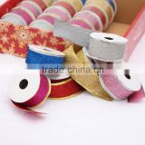 Factory supply 5cm wire edge glitter christmas decorative gift ribbon large size small display packing
