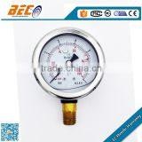 Half stainless steel silicone oil filled propane gas hydraulic pressure gauge