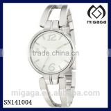 Japan quartz movt silver plated analog watch bangle